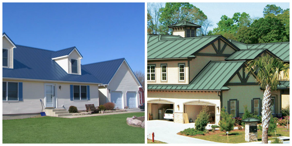 exterior paint colors 2019, blue roof house, green roof house