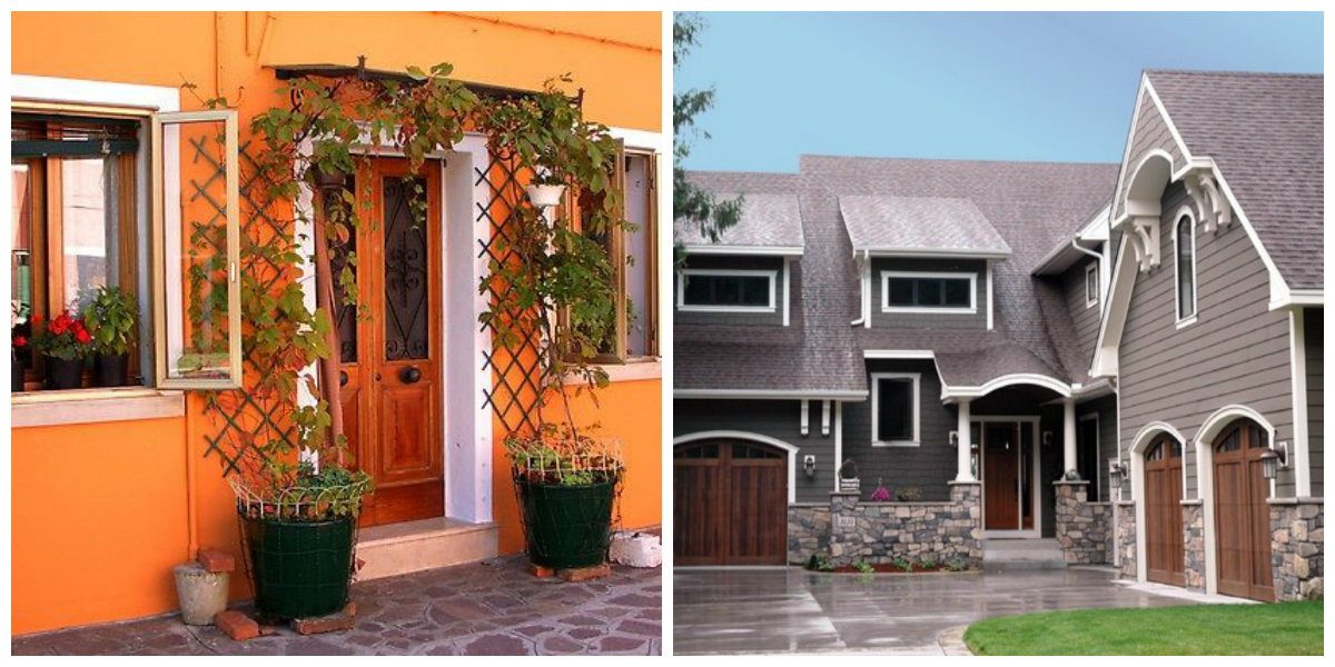 exterior paint colors 2019, orange walls, wood with gray color