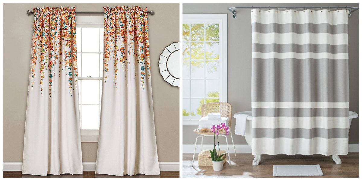 farmhouse curtains, floral farmhouse curtains, stripe farmhouse curtains