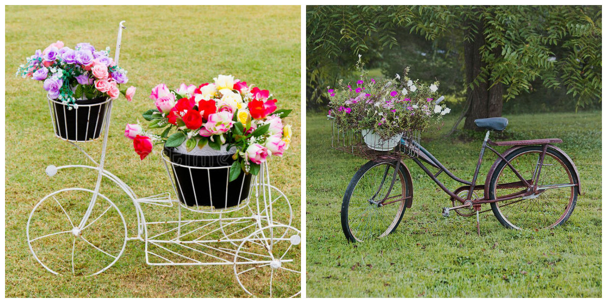 farmhouse decor 2019, stylish bicycle with flowers decor