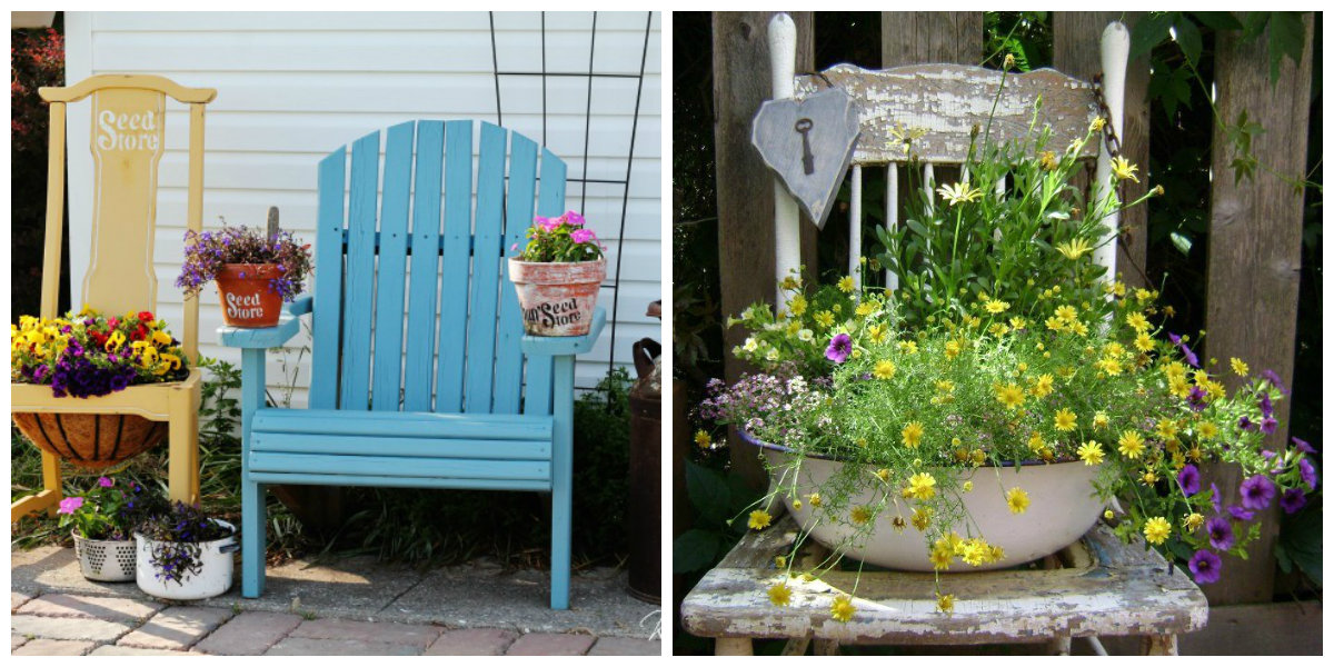 farmhouse decor 2019, chair as flower bed in farmhouse design ideas