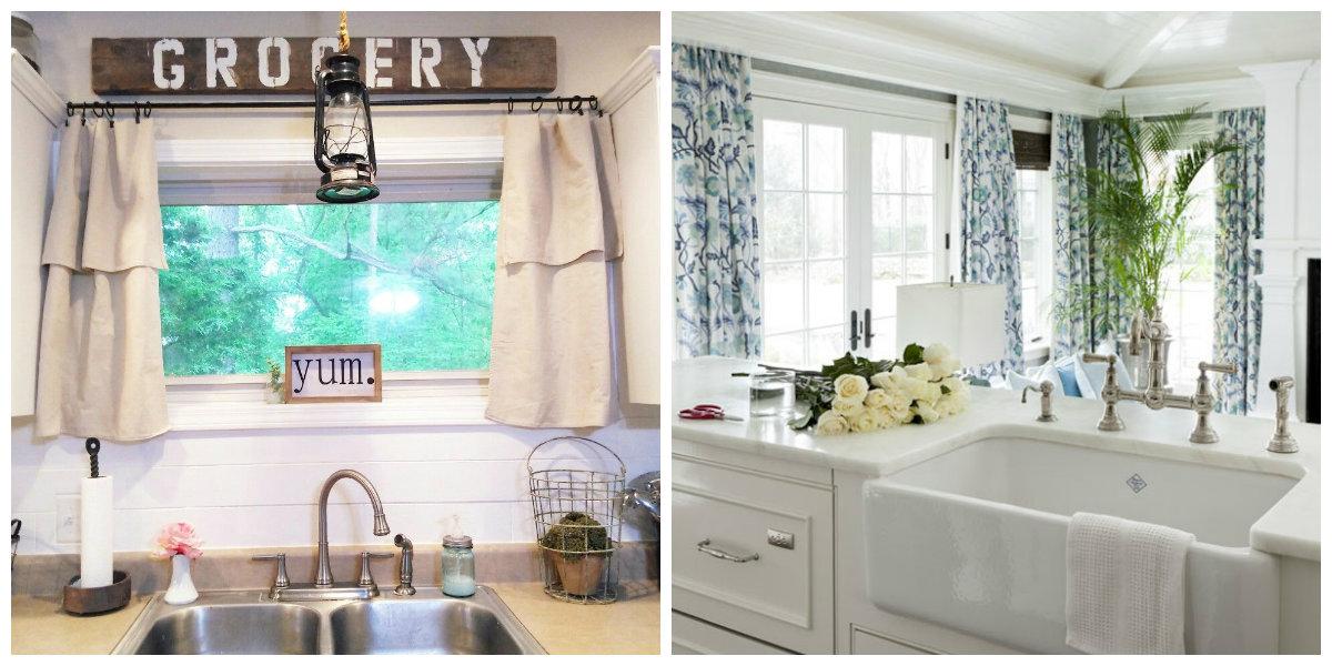 farmhouse kitchen decor, farmhouse kitchen curtains