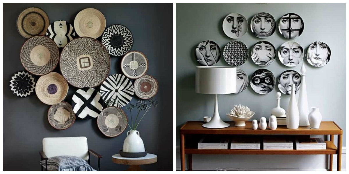 farmhouse wall decor, wall decor with stylish plates
