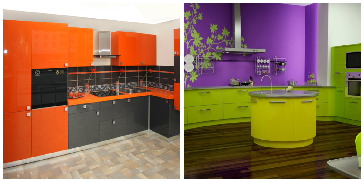 Kitchen Cabinet Paint Colors 2019, Lilac And Green Kitchen Cabinet, Black  And Orange Kitchen