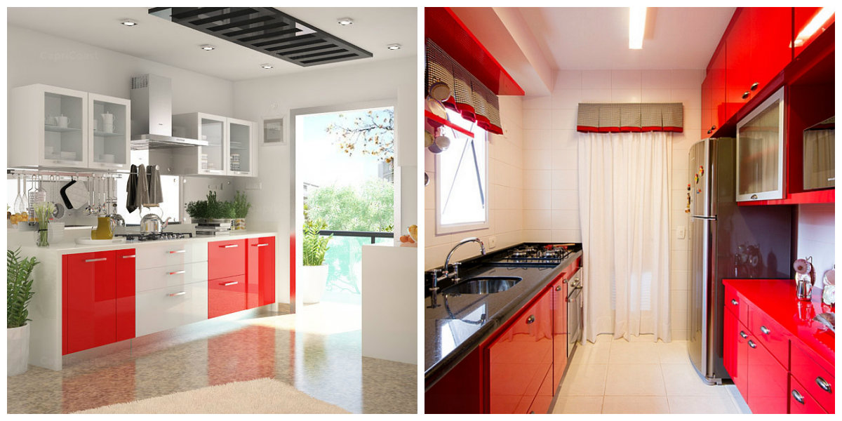 kitchen color schemes 2019, black and red kitchen, white and red kitchen