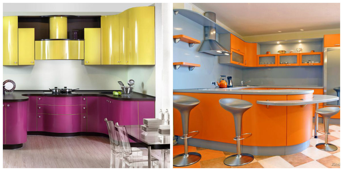 kitchen color schemes 2019, blue and orange kitchen, yellow and purple kitchen