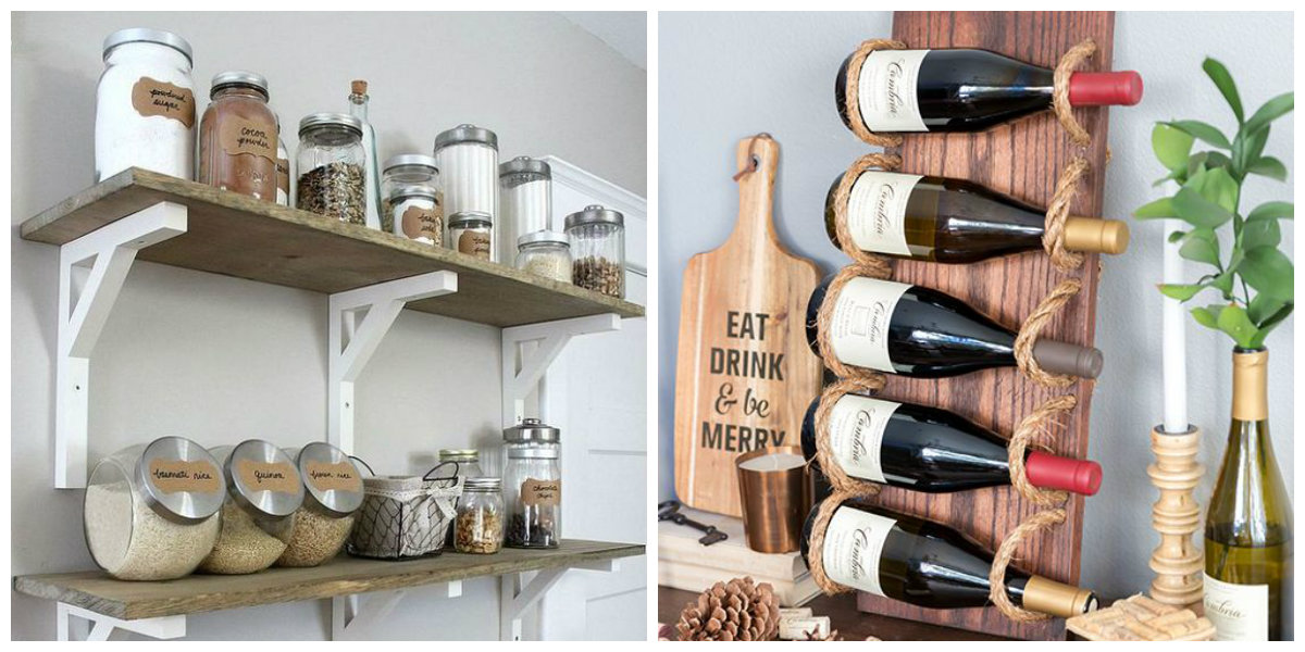 kitchen decor ideas 2019, bottle holder, banks with spices