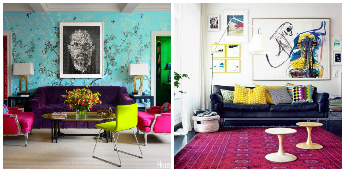living room decor ideas 2019, use of vivid colors in living room decor ideas 2019