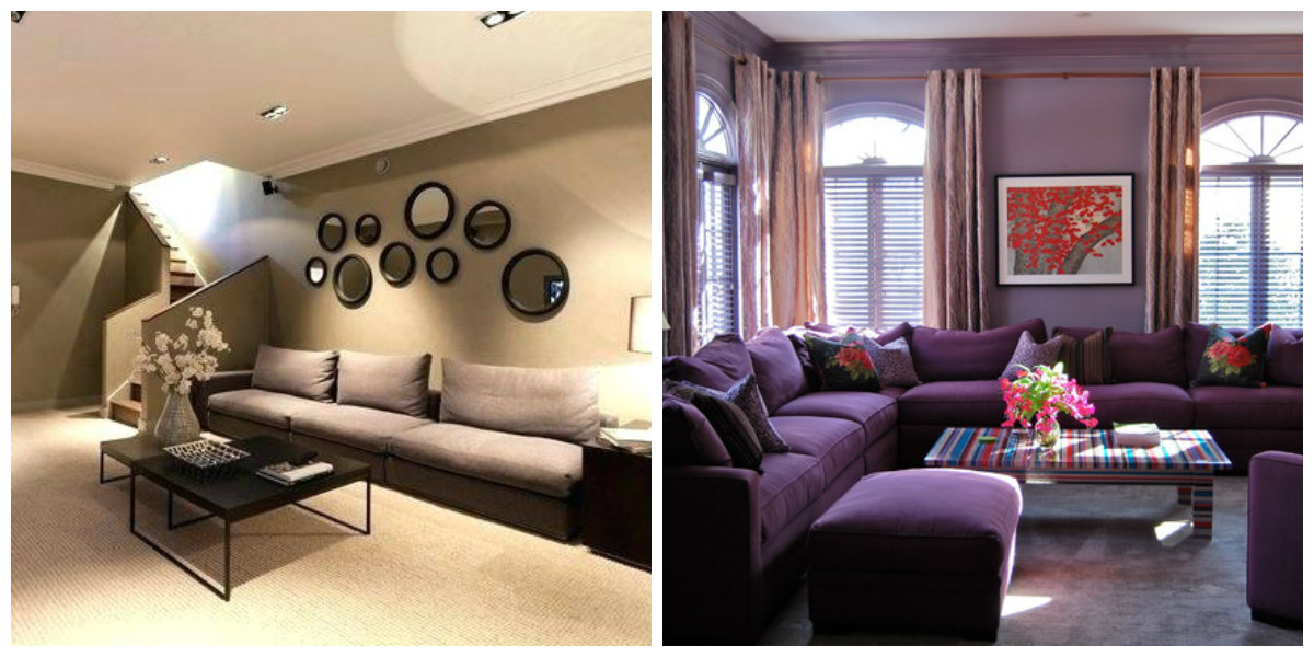 living room paint colors 2019, beige living room, purple living room