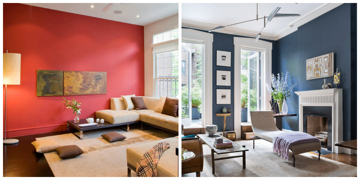 living room paint colors 2019, blue living room, red living room