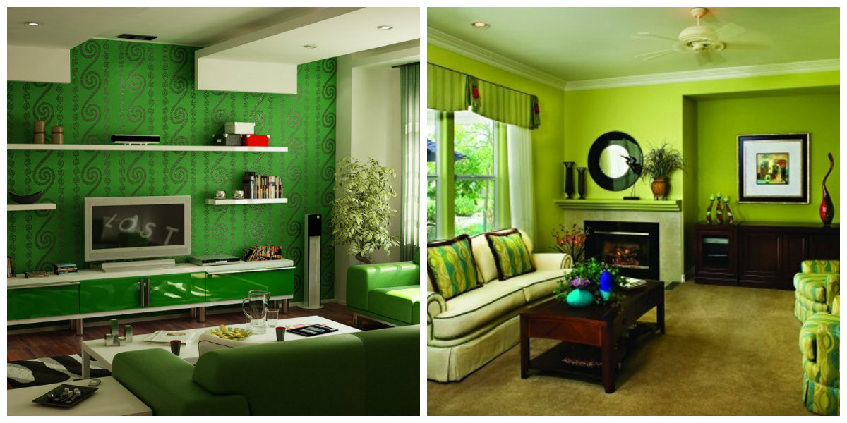 living room paint colors 2019, green living room 2019