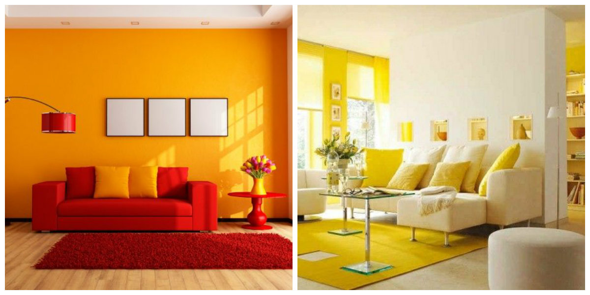 living room paint colors 2019, yellow-lemon living room, red-orange living room