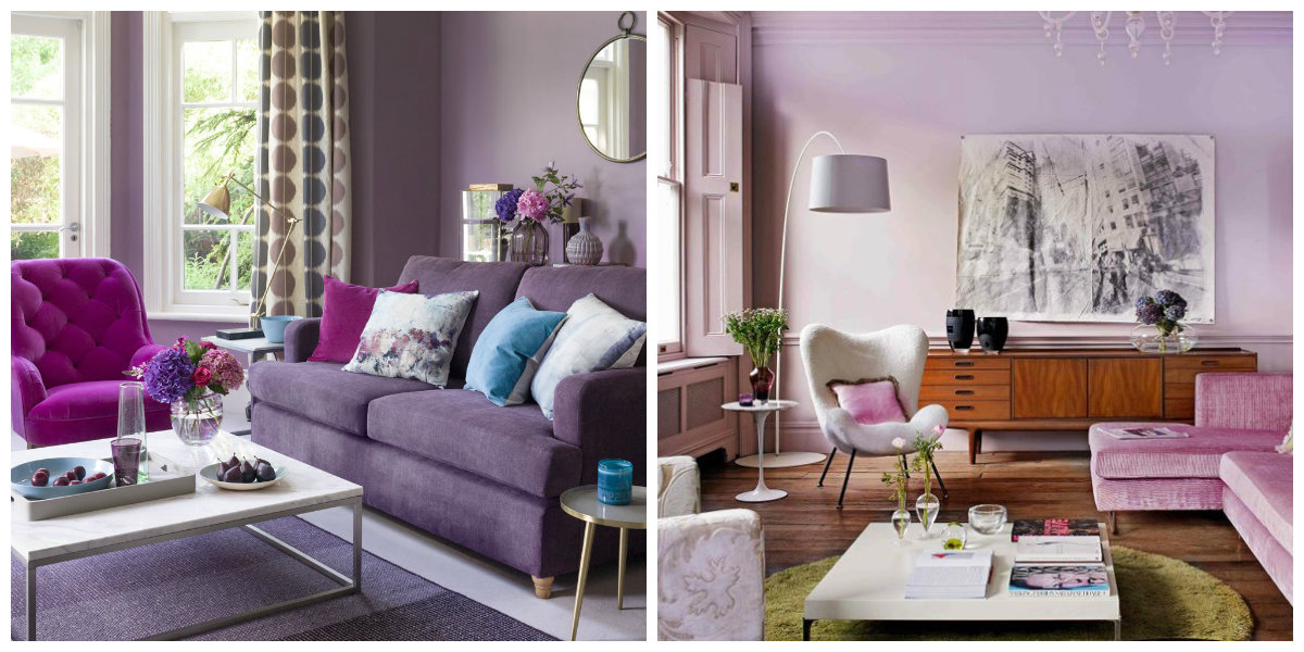 living room paint colors 2019, fashionable lilac living room