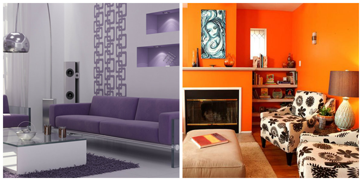 living room paint colors 2019, violet living room, orange living room