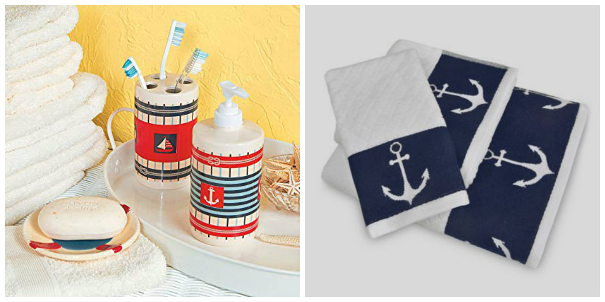 nautical bathroom decor, accessories for nautical bathroom, nautical towels