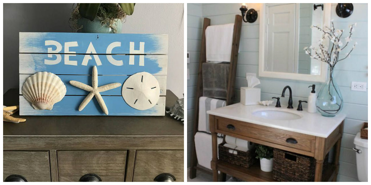 nautical bathroom decor, wood furniture in nautical bathroom decor