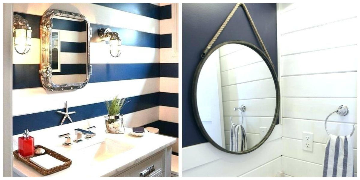 nautical bathroom decor, nautical bathroom mirrors