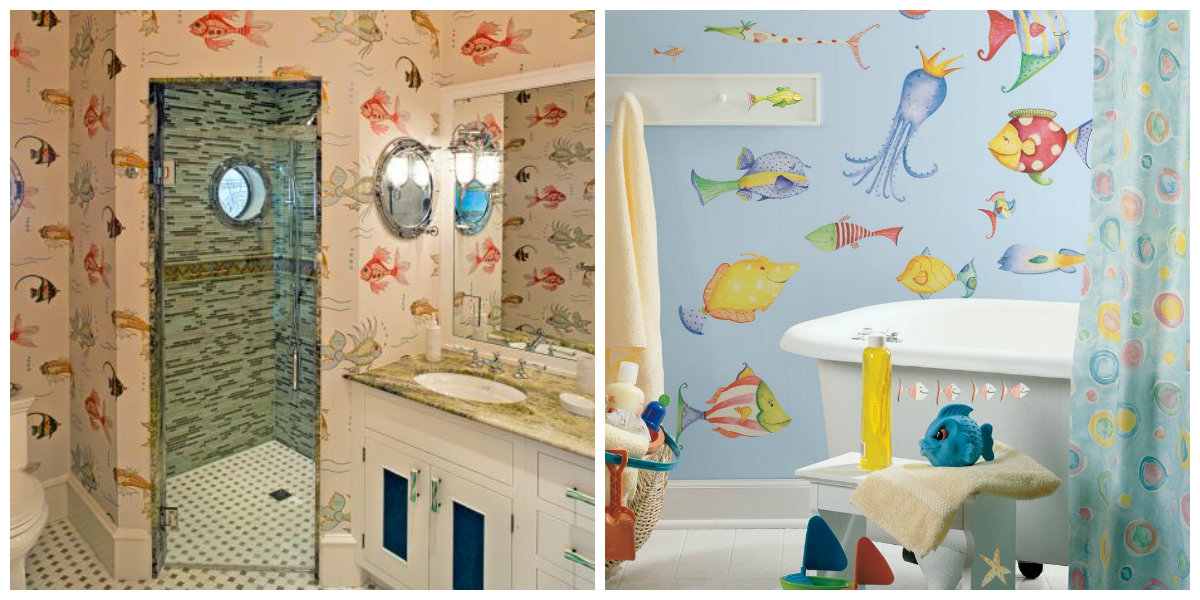 nautical bathroom decor, wall design in nautical bathroom design