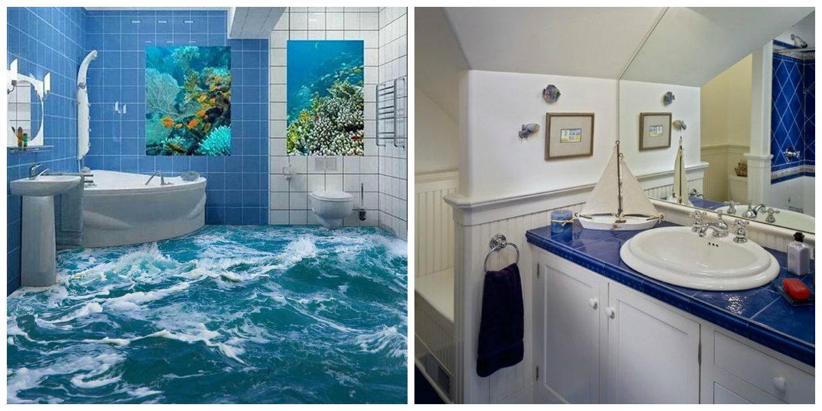 nautical bathroom decor, white and blue nautical bathroom