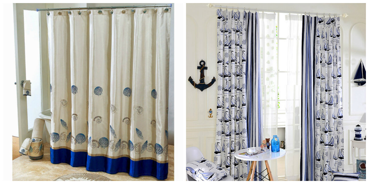 nautical bathroom decor, window curtains in nautical style