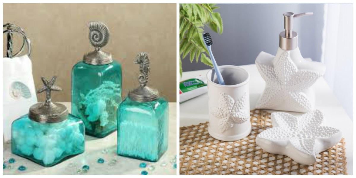 ocean themed bathroom, accessories in ocean themed bathroom