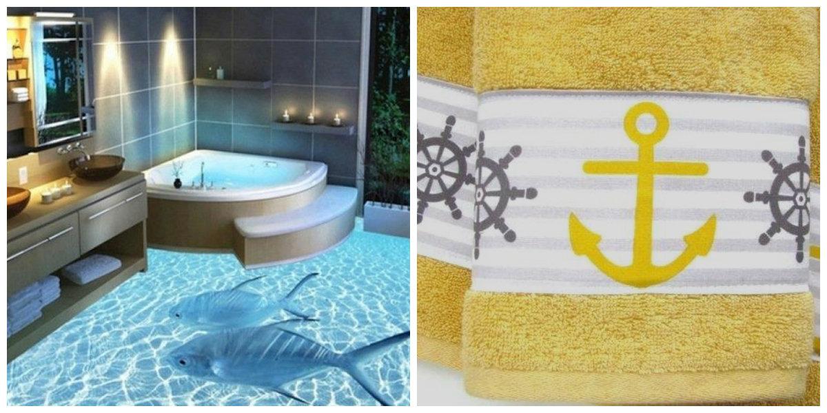 ocean themed bathroom, towels, bathtub in ocean themed bathroom