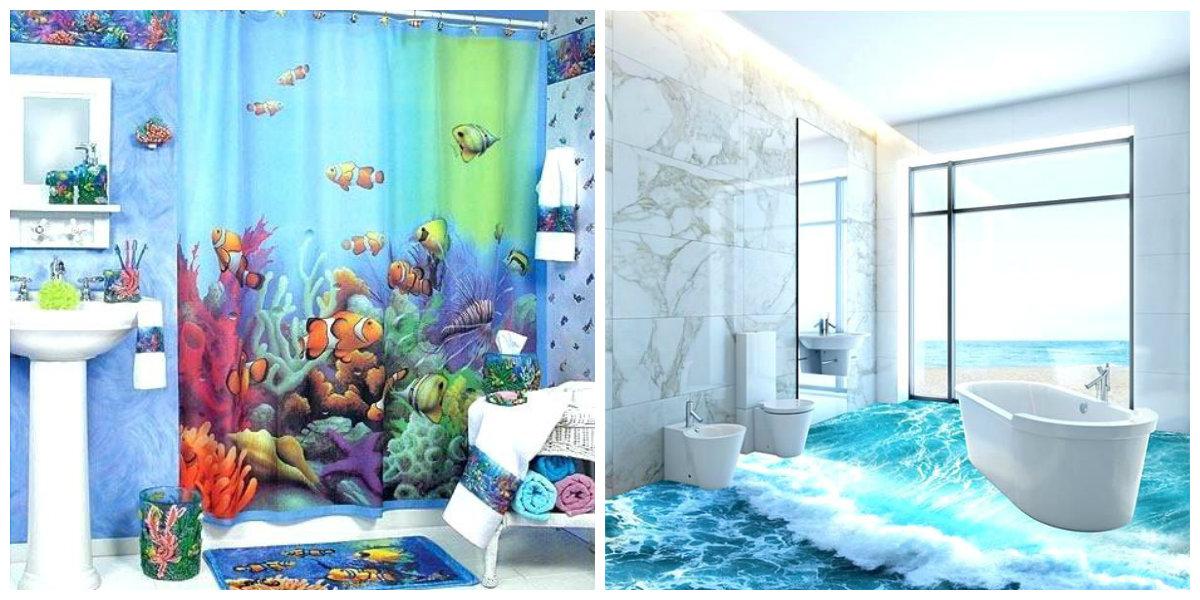 ocean themed bathroom, trendy colors in ocean themed bathroom