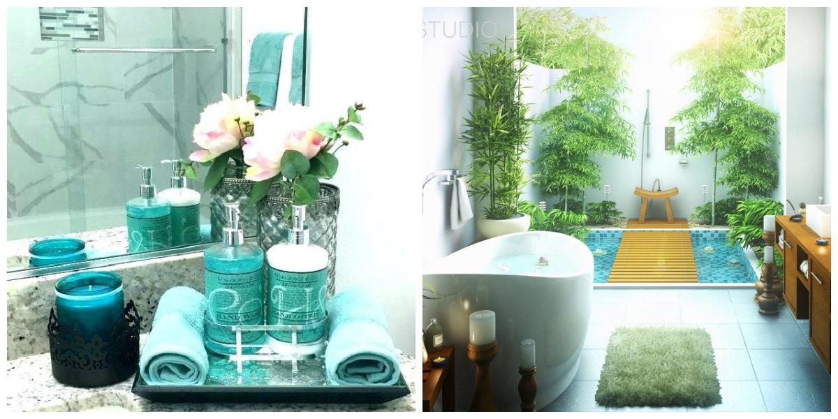 ocean themed bathroom, plants in ocean themed bathroom