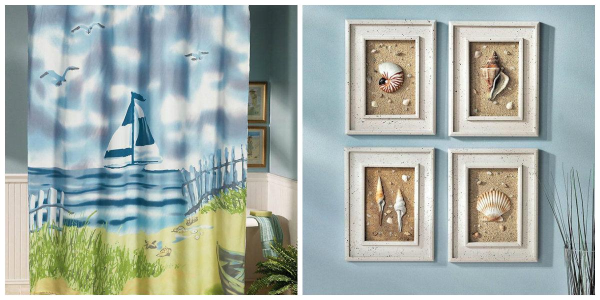 ocean themed bathroom, seashells in ocean bathroom, curtains in ocean bathroom