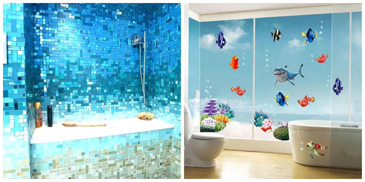 ocean themed bathroom, vinyl stickers for ocean bathroom, sea style bath