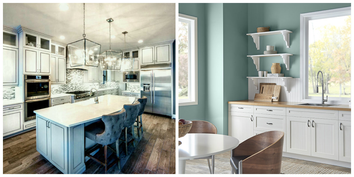 popular kitchen colors 2019, stylish airy blue kitchen 2019
