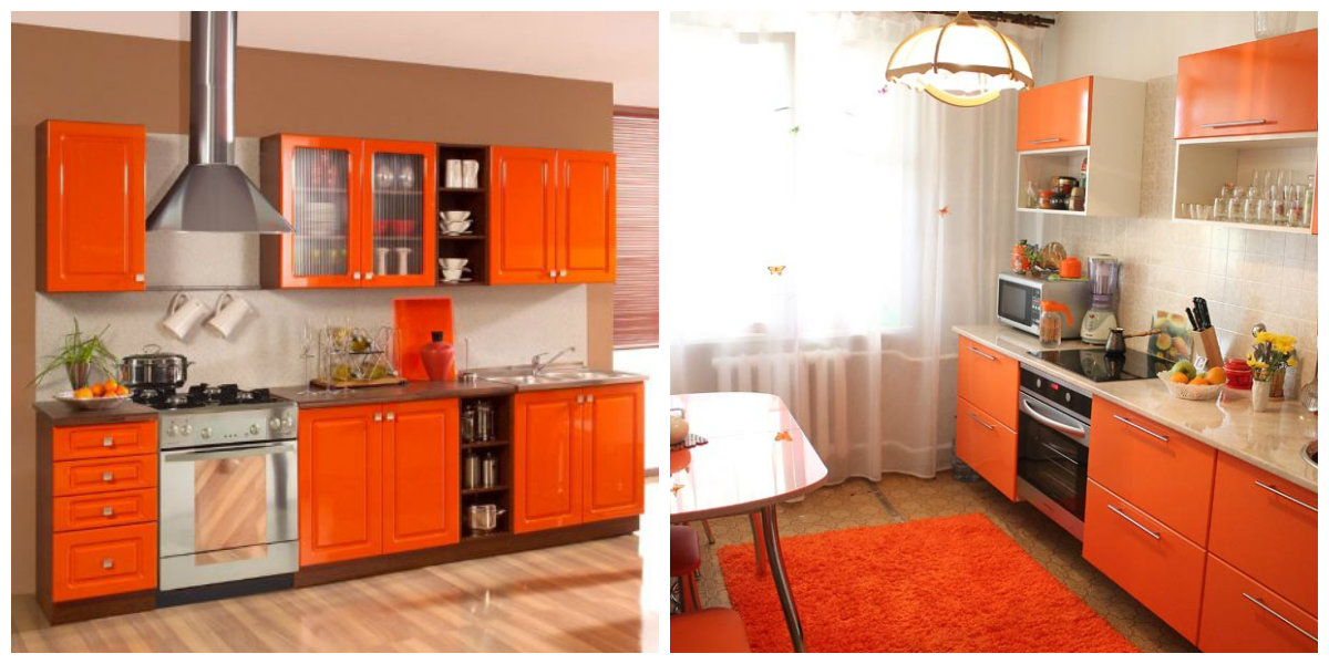 popular kitchen colors 2019, stylish orange kitchen 2019