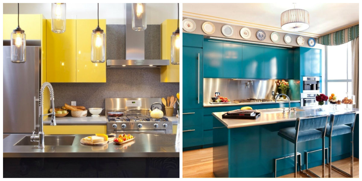 popular kitchen colors 2019, yellow kitchen, blue kitchen