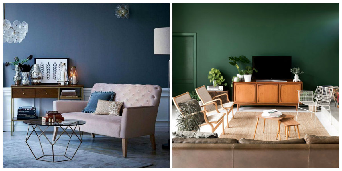 popular living room colors 2019, green living room, blue living room