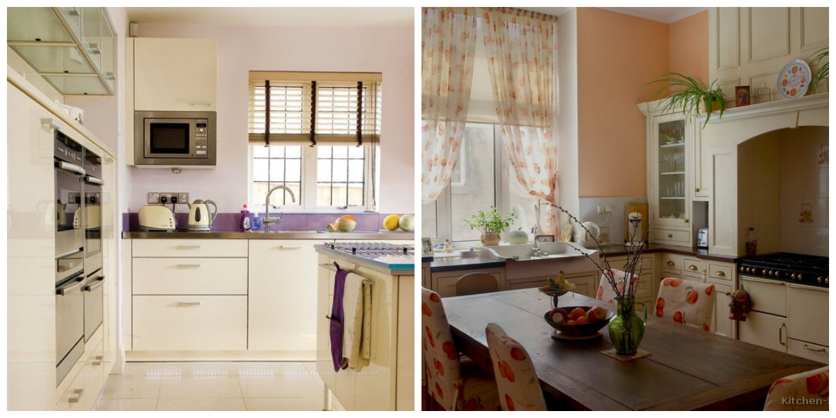 small kitchen ideas 2019, lilac kitchen, peach kitchen